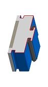 Umfassungszarge/Blockzarge als Doppeltürzarge mit Schattennut