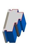 Umfassungszarge/Blockzarge mit Doppelfalz  Zierfalz und Schattennut