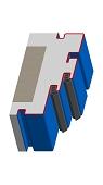 Umfassungszarge mit Doppelfalz  Dehnungsfuge mittig und Schattennut
