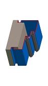 Umfassungszarge / Blockzarge zweischalig mit Doppelfalz und Schattennut