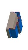 Umfassungszarge / Blockzarge als Doppeltürzarge zweischalig mit Schattennut