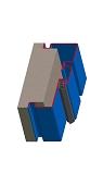 Umfassungszarge / Blockzarge dreischalig mit Dehnungsfuge mittig und Schattennut