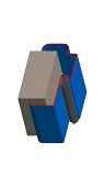 Umfassungszarge/Blockzarge zweischalig mit Zierfalz und Rundspiegel
