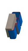 Umfassungszarge / Blockzarge dreischalig mit Dehnungsfuge mittig und Rundspiegel